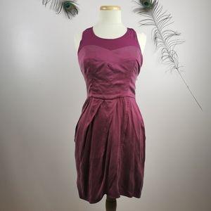 Medium silk purple knee length dress
